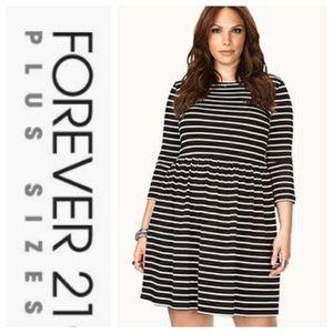 ❄️ Forever 21+ Black & White Striped Dress Sz 1X